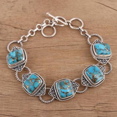 1652b04a4 UNICEF Market | Sterling Silver and Composite Turquoise Link Bracelet -  Exotic Delight in Blue
