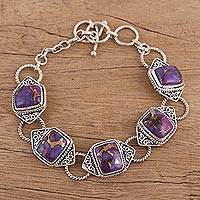 Sterling silver link bracelet, 'Exotic Delight in Purple' - Sterling Silver and Composite Turquoise Link Bracelet