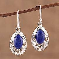 Lapis lazuli dangle earrings, 'Deepest Desire' - Lapis Lazuli and Sterling Silver Dangle Earrings