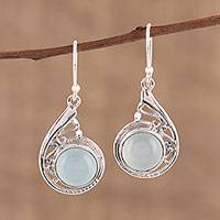 Chalcedony dangle earrings, 'Sea of Delight' - Aqua Chalcedony and Sterling Silver Dangle Earrings