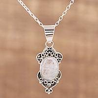 Rainbow moonstone pendant necklace, 'Gleam of Hope' - Rainbow Moonstone and Sterling Silver Pendant Necklace