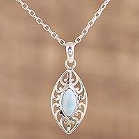Larimar pendant necklace, 'Sacred Shield' - Larimar and Sterling Silver Pendant Necklace from India