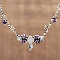 Multi-gemstone pendant necklace, 'Sparkling Symphony' - Multi Gemstone Sterling Silver Pendant Necklace from India