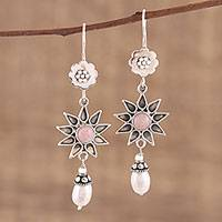 Opal and cultured pearl dangle earrings, 'Blissful and Bright' - Pink Opal and Cultured Pearl Dangle Earrings from India