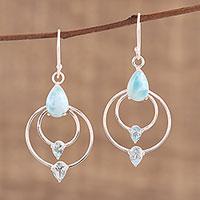 Blue topaz and larimar dangle earrings, 'Sparkling Sky' - Blue Topaz and Larimar Dangle Earrings from India
