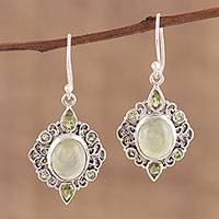 Peridot and prehnite dangle earrings, 'Glory of Green' - Peridot and Prehnite Dangle Earrings from India
