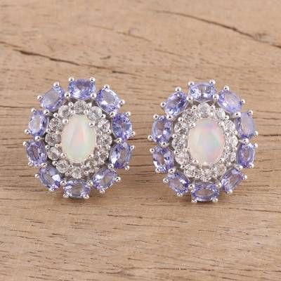 Multi-gemstone button earrings, Dreamy Trio