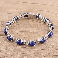Lapis lazuli link bracelet, 'Azure Wonder' - Lapis Lazuli and Sterling Silver Link Bracelet from India