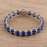 Lapis lazuli link bracelet, 'Regal Jaipur' - Handmade Lapis Lazuli and Sterling Silver Link Bracelet