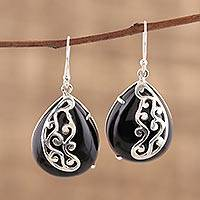 Onyx dangle earrings, 'Mystical Dangle' - Artisan Handmade Black Onyx 925 Sterling Silver Earrings