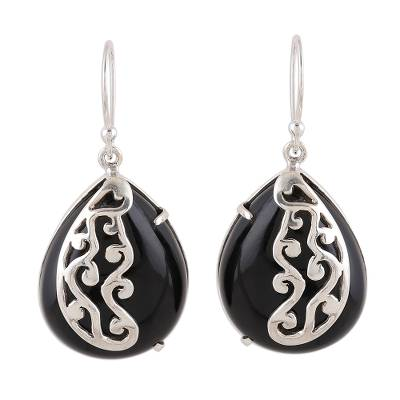 Handcrafted Black Onyx Dangle Earrings from Novica