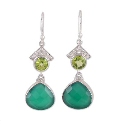 Unique Green Onyx and Peridot Sterling Silver Dangle Earrings