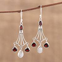 Garnet and rainbow moonstone dangle earrings, 'Brilliant Rainbow' - Handmade 925 Sterling Silver Dangle Earrings Moonstone