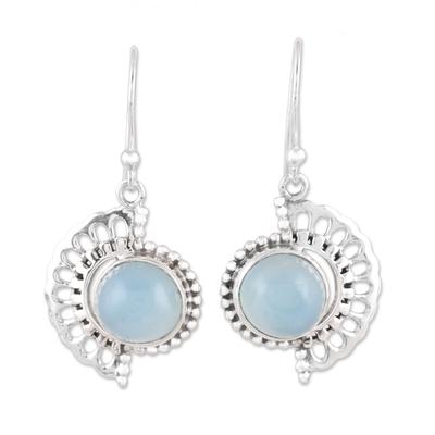 Handmade 925 Sterling Silver Blue Chalcedony Earrings India