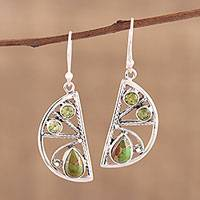 Peridot dangle earrings, 'Green Crescent' - Handmade 925 Sterling Silver Composite Turquoise Earrings