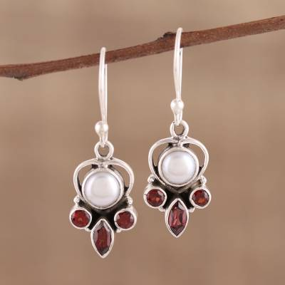 Garnet and cultured pearl dangle earrings, 'Eternal Joy' - Sterling Silver Garnet and Cultured Pearl Earrings