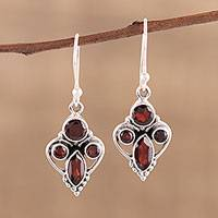 Garnet dangle earrings, 'Eternal Ecstasy' - Handmade 925 Sterling Silver Garnet Earrings India