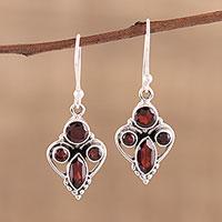 Garnet dangle earrings, 'Eternal Ecstasy' - Handmade 925 Sterling Silver Garnet Earrings India