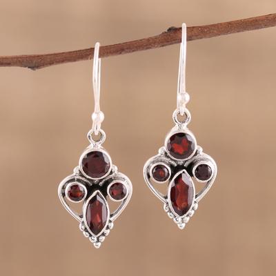 Novica Garnet dangle earrings, Fire of Love - Natural Garnet and Sterling Silver Earrings Indian Jewelry