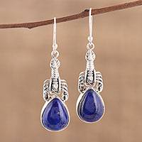 Lapis lazuli dangle earrings, 'Scorpion Hill' - Handmade Lapis Lazuli 925 Sterling Silver Scorpion Earrings