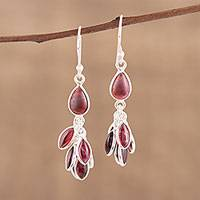 Garnet dangle earrings, 'Scarlet Bunch' - Handmade 925 Sterling Silver Garnet Dangle Earrings India