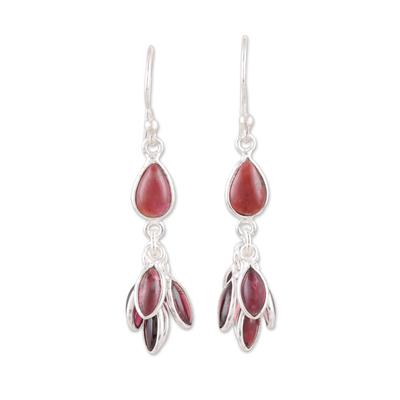Handmade 925 Sterling Silver Garnet Dangle Earrings India
