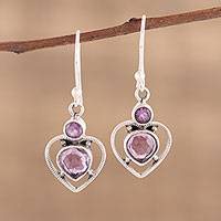 Amethyst dangle earrings, 'Lavender Heart' - Handmade 925 Sterling Silver Amethyst Heart Earrings