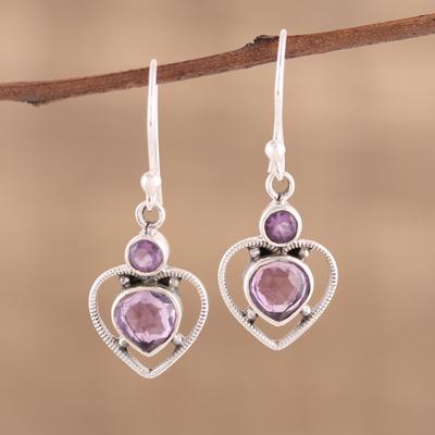 Amethyst Dangle Earrings Lavender Heart Handmade 925 Sterling Silver