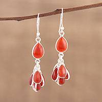 Carnelian dangle earrings, 'Fiery Bunch' - Handmade 925 Sterling Silver Carnelian Earrings India
