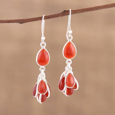 Novica Carnelian dangle earrings, Fiery Bunch