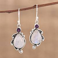 Amethyst and rainbow moonstone dangle earrings, 'Divine Antique' - Handmade 925 Sterling Silver Rainbow Moonstone Earrings