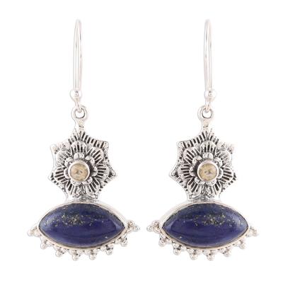 Handmade 925 Sterling Silver Lapis Lazuli Citrine Earrings