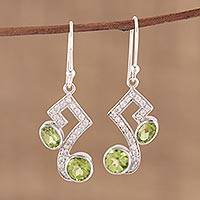 Peridot dangle earrings, 'Glimmering Intellect' - Handmade 925 Sterling Silver Peridot Cubic Zirconia Earrings