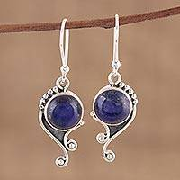 Lapis lazuli dangle earrings, 'Deep Sea Charm' - Handmade 925 Sterling Silver Lapis Lazuli Earrings India