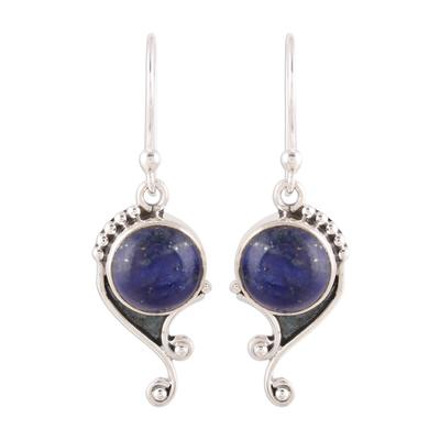Handmade 925 Sterling Silver Lapis Lazuli Earrings India
