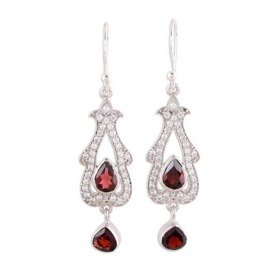 925 Sterling Silver Cubic Zirconia Garnet Dangle Earrings
