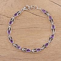 Amethyst link bracelet, 'Lavender Spell' - Handmade Sterling Silver and Amethyst Bracelet from India