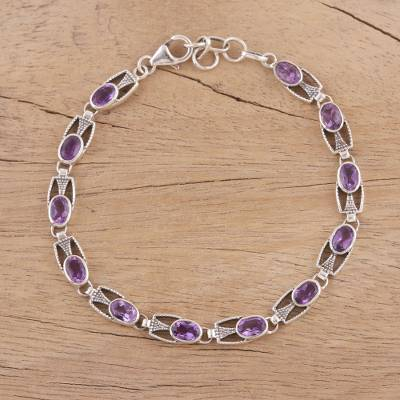 Novica Amethyst link bracelet, Lavender Spell