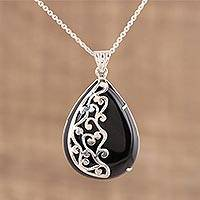 Featured review for Onyx pendant necklace, Mystical Dangle