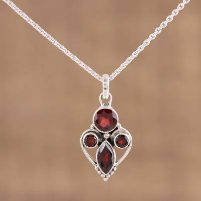 Garnet pendant necklace, 'Eternal Ecstasy' - 925 Sterling Silver Faceted Red Garnet Pendant Necklace