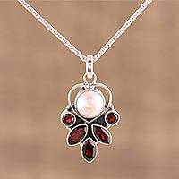 Garnet and cultured pearl pendant necklace, 'Eternal Ecstasy' - 925 Sterling Silver Faceted Red Garnet Pendant Necklace