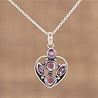 Amethyst pendant necklace, 'Reflective Heart' - 925 Sterling Silver Faceted Amethyst Heart Pendant Necklace