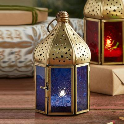 Embossed glass lantern, 'Festival Nights- Blue'  - Indian Blue Embossed Glass Lantern