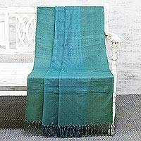 Silk throw blanket, 'Sea Beauty' - Teal Silk Handloom Woven Throw Blanket