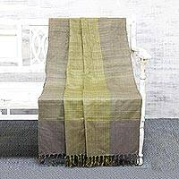Silk throw blanket, 'Misty Meadow' - Grey and Citron 100% Silk Throw Blanket Handwoven in India