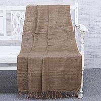 Silk throw blanket, 'Sandy Serenity' - Handwoven Brown 100% Silk Throw Blanket Made in India