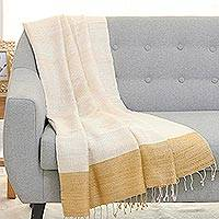 Silk throw blanket, 'Honey Dreams' - Handwoven 100% Silk Patterned Throw Blanket Made in India
