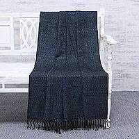 Silk throw blanket, 'Cerulean Nights' - Handwoven Blue and Black Silk Throw Blanket Made in India