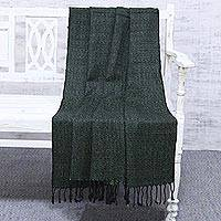 Silk throw blanket, 'Sage Serenity' - Handwoven Green and Black Silk Throw Blanket Made in India