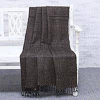 Silk throw blanket, 'Tranquil Night' - Handwoven Brown and Black Silk Throw Blanket Made in India